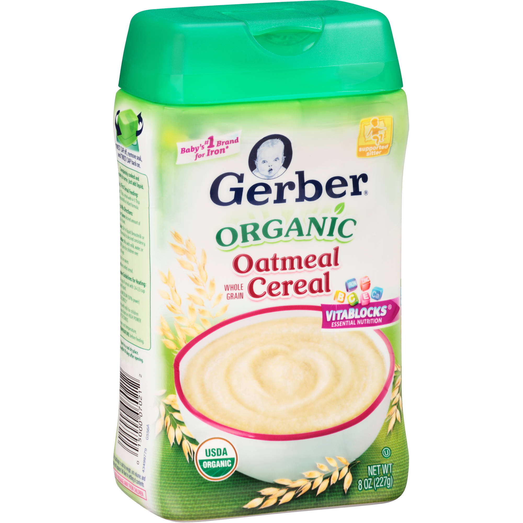 Gerber Organic Whole Grain Oatmeal Cereal, 8 oz