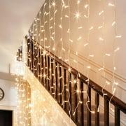 TORCHSTAR 9.8ft x 9.8ft LED Curtain Lights, Starry Christmas String Light, Indoor Decoration for Festival, Wedding, Party, Living Room, Bedroom, Soft White