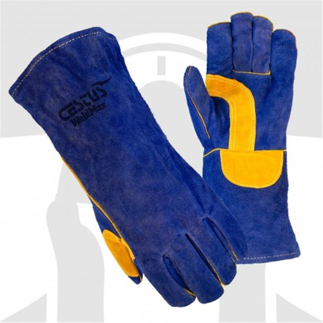 Cestus WeldMax - 7033 M Blue Leather Welding Glove - Medium