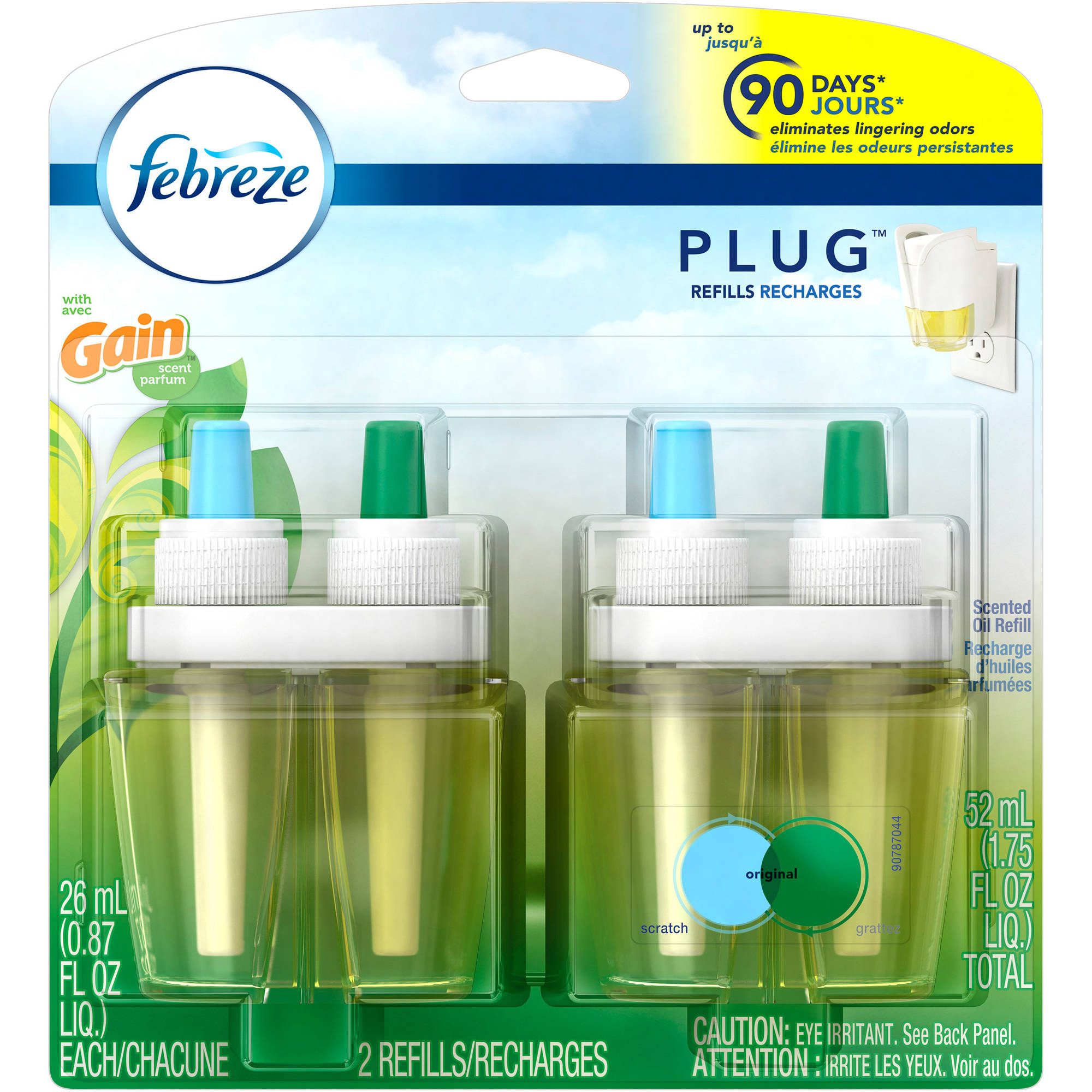 Febreze NOTICEables Gain Original Scented Oil Air Freshener Refills, 0.87 fl oz, 2 count