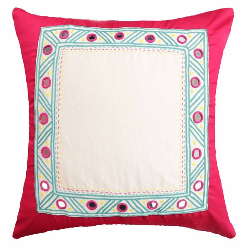 Spun Threads with a Soul Pink Border Decorative Pillow