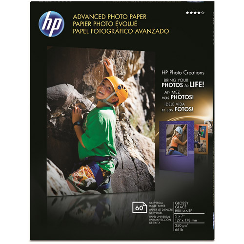 HP Q8690A Advanced Photo Paper, Glossy (60 Sheets, 5 x 7-inch)
