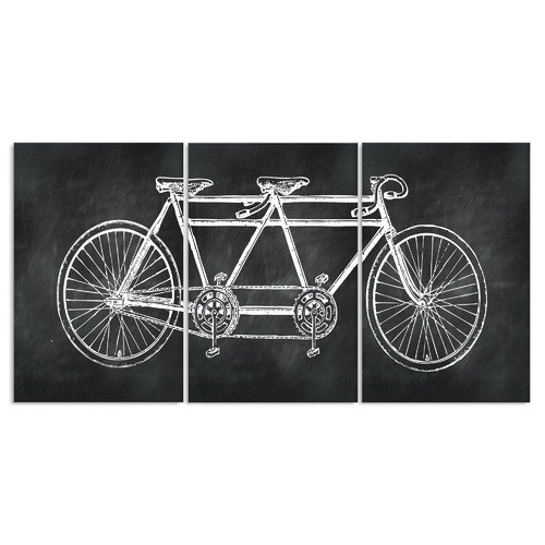 Stupell Industries Chalkboard Look Tandem Bicycle Triptych 3 pc Wall Plaque Set