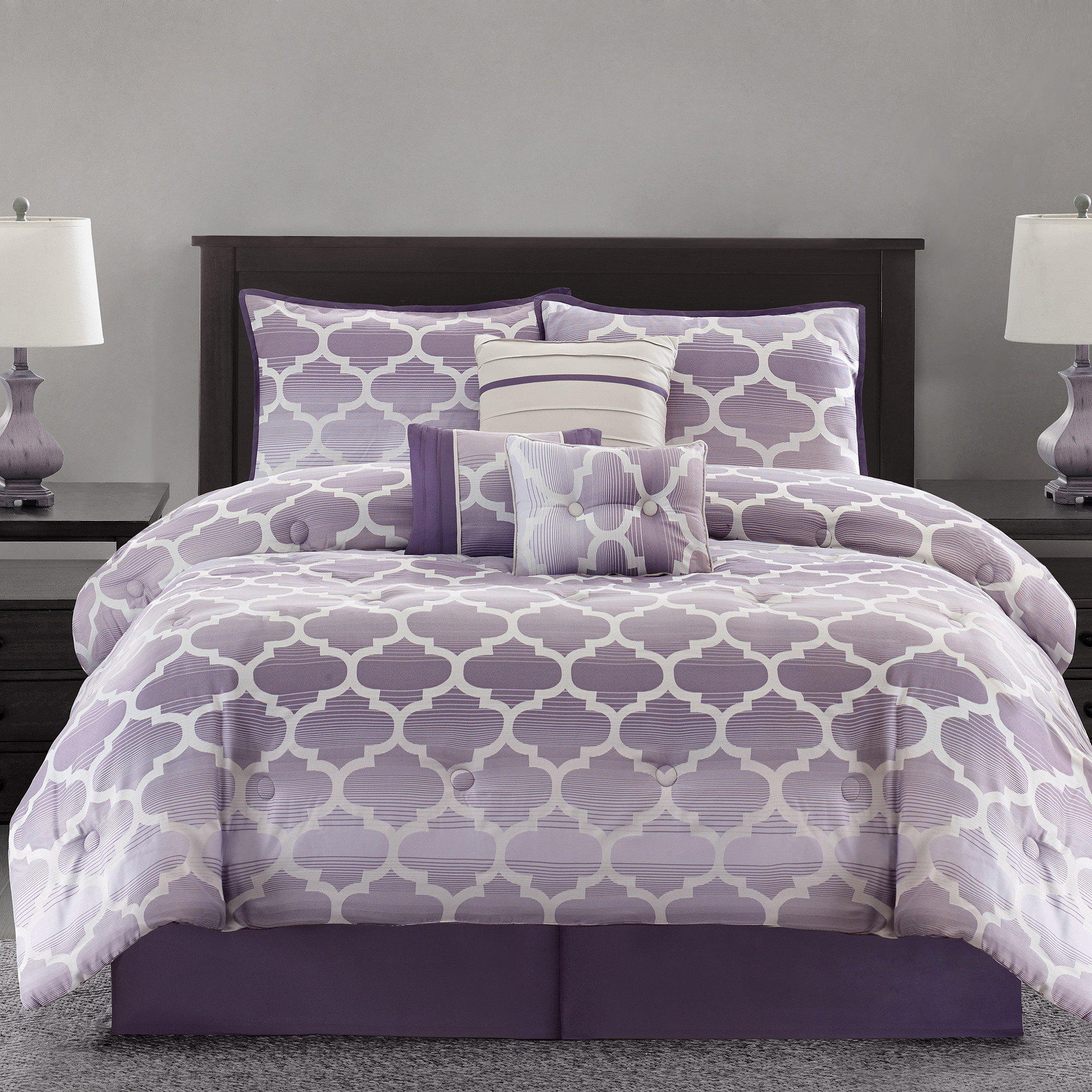 Mainstays Ombre Fretwork 7-Piece Bedding Comforter Set