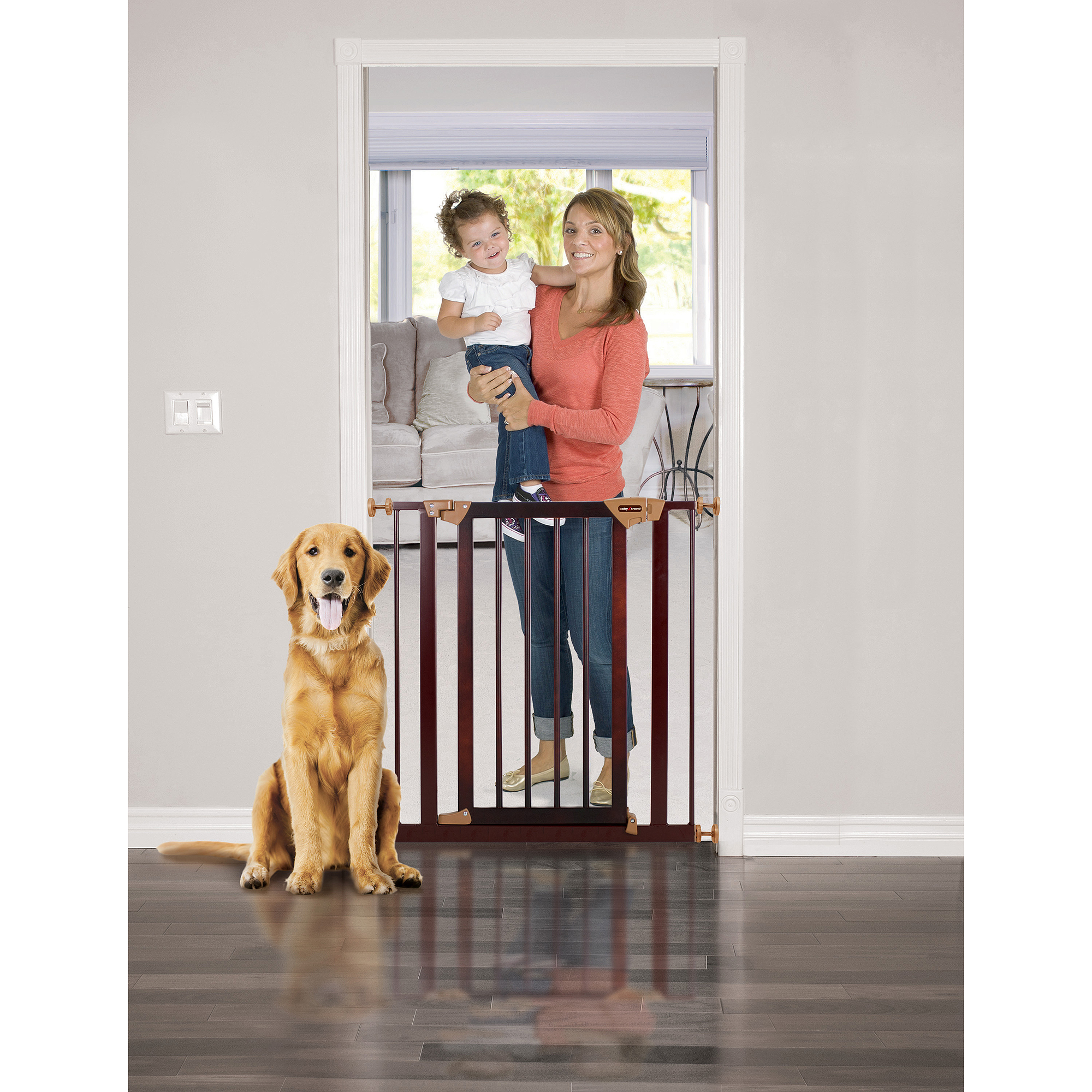 Baby Trend Pressure Fit Wood & Metal Safety Gate, Dark Hardwood