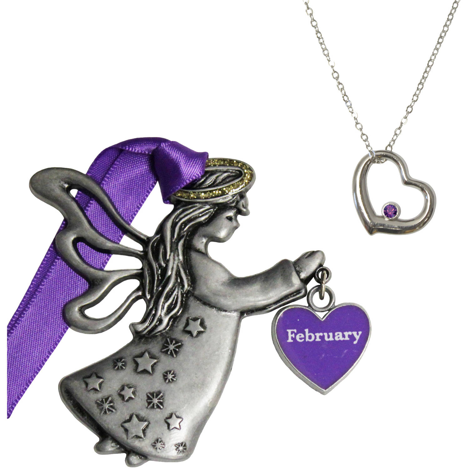 Personalized Gloria Duchin February Birthstone Angel Christmas Ornament and Pendant Necklace Set, 18""