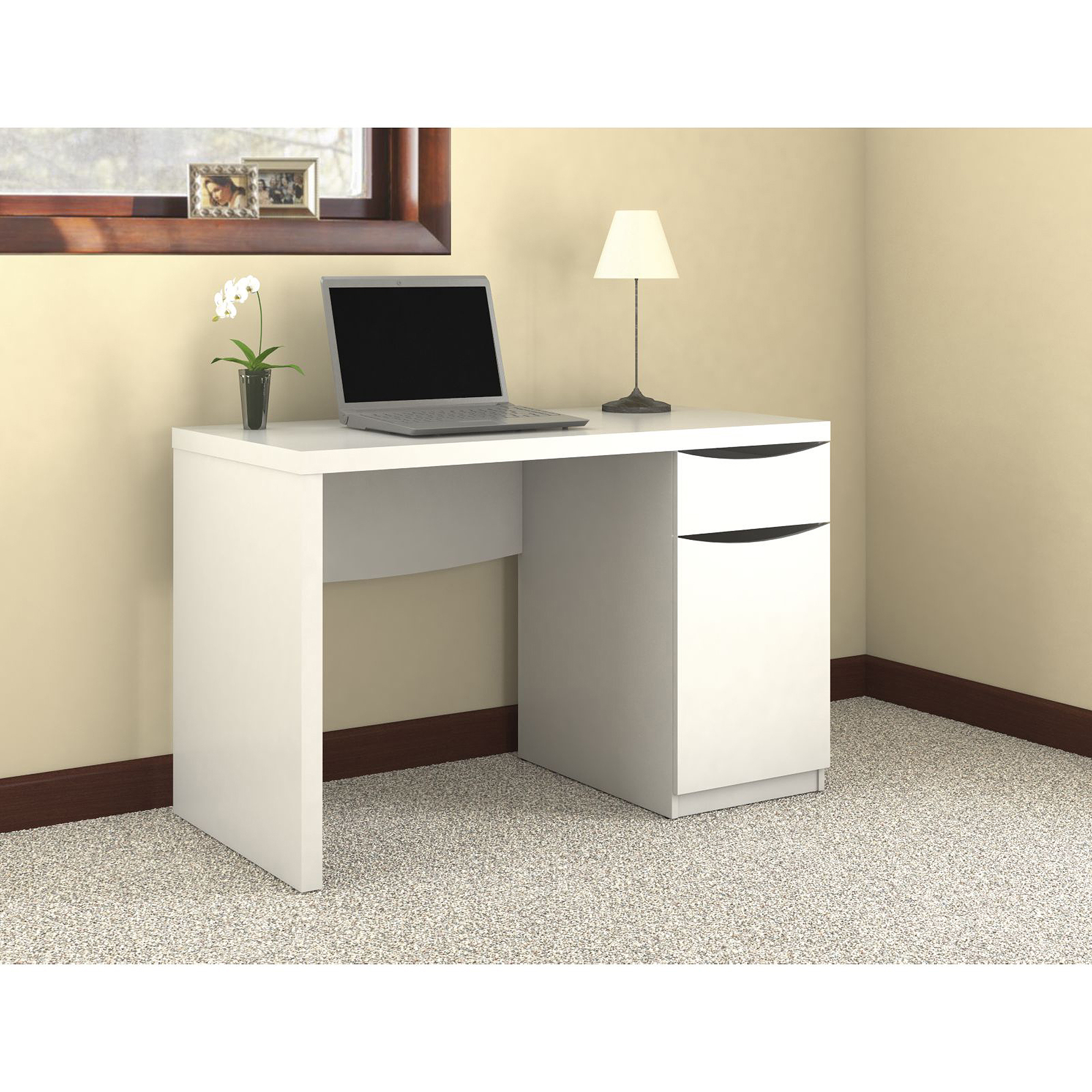 Bush Furniture Montrese Computer Desk with Closed Storage, Pure White