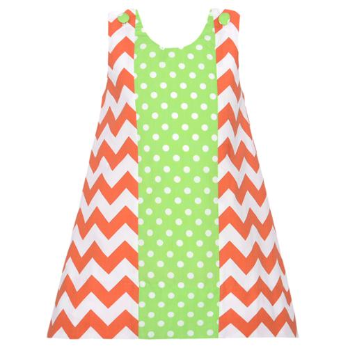 Toddler Girls 3T Orange Chevron Green Dot Fall Jumper Dress