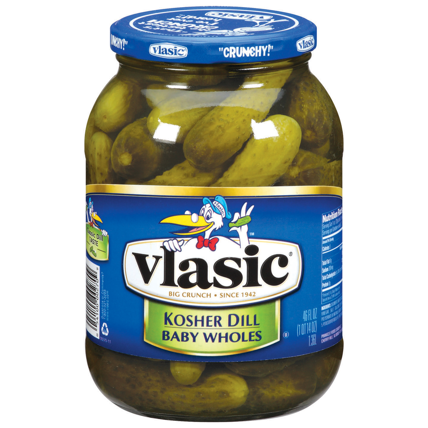 Vlasic Baby Kosher Dill Wholes Pickles 46 Fl Oz Jar