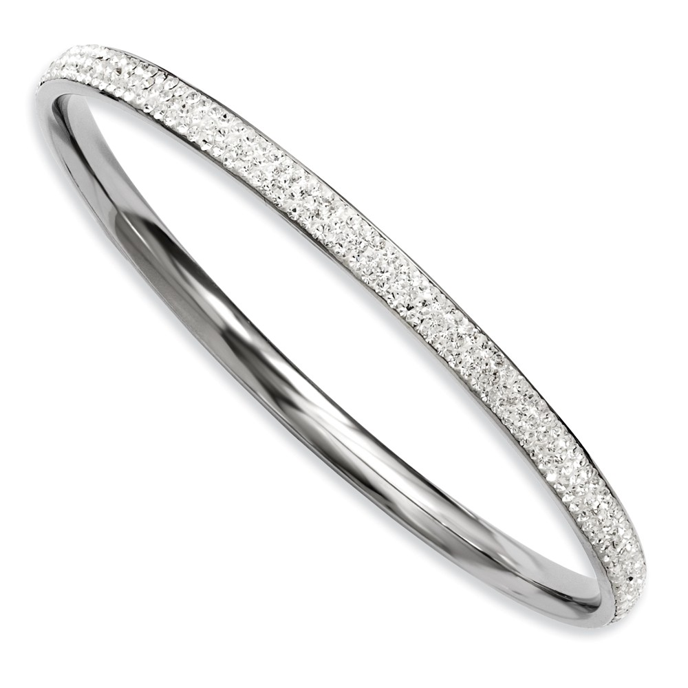 Stainless Steel Clear Crystal Rounded Bangle
