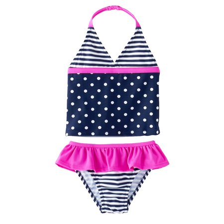 OshKosh Dot Stripe Tankini Navy Girls Swimwear 2T