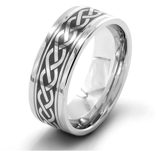 Men's Stainless Stainless Steel Laser Etched Braided Celtic Knot Ring