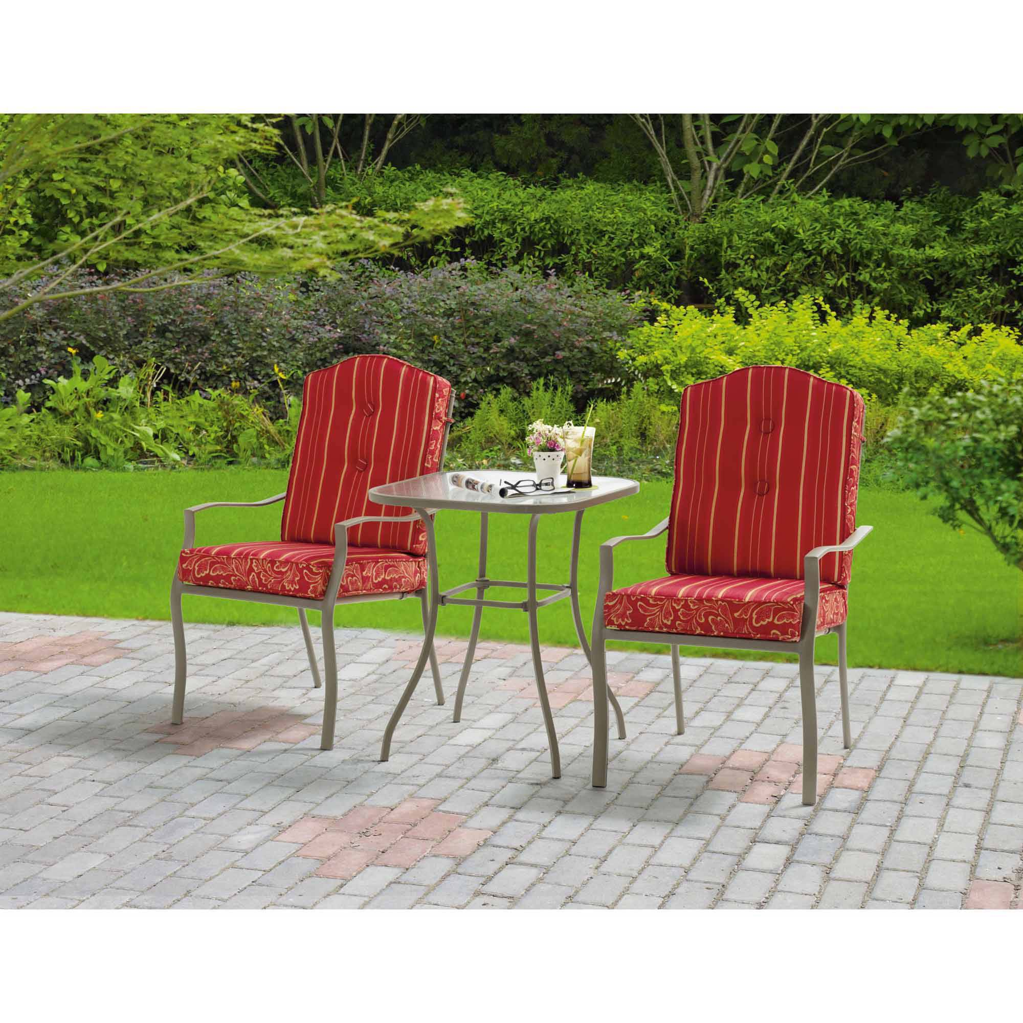 Mainstays Warner Heights 3-Piece Outdoor Bistro Set, Red, Seats 2