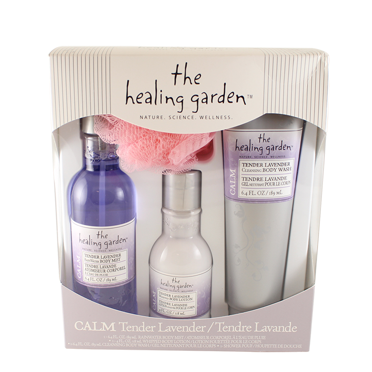 The Healing Garden Calm Tender Lavender 4 Pc. Gift Set ( Rainwater Body Mist 6.4 Oz + Whipped Body Lotion 4 Oz + Cleansing Body Wash 6.4 Oz + Shower Pouf ) for Women by Coty