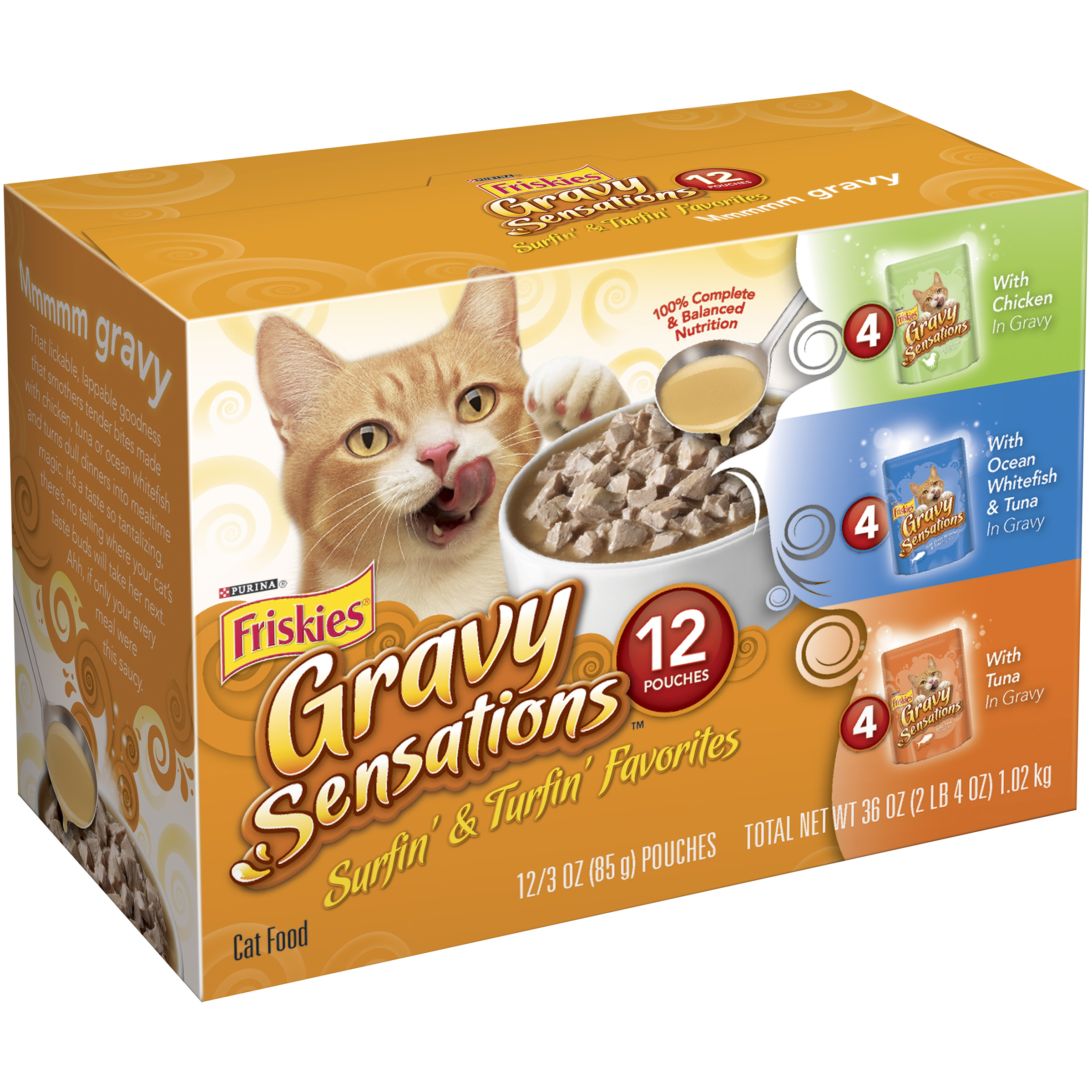 Purina Friskies Gravy Sensations Surfin' & Turfin' Favorites Cat Food Variety Pack 12-3 oz. Pouches