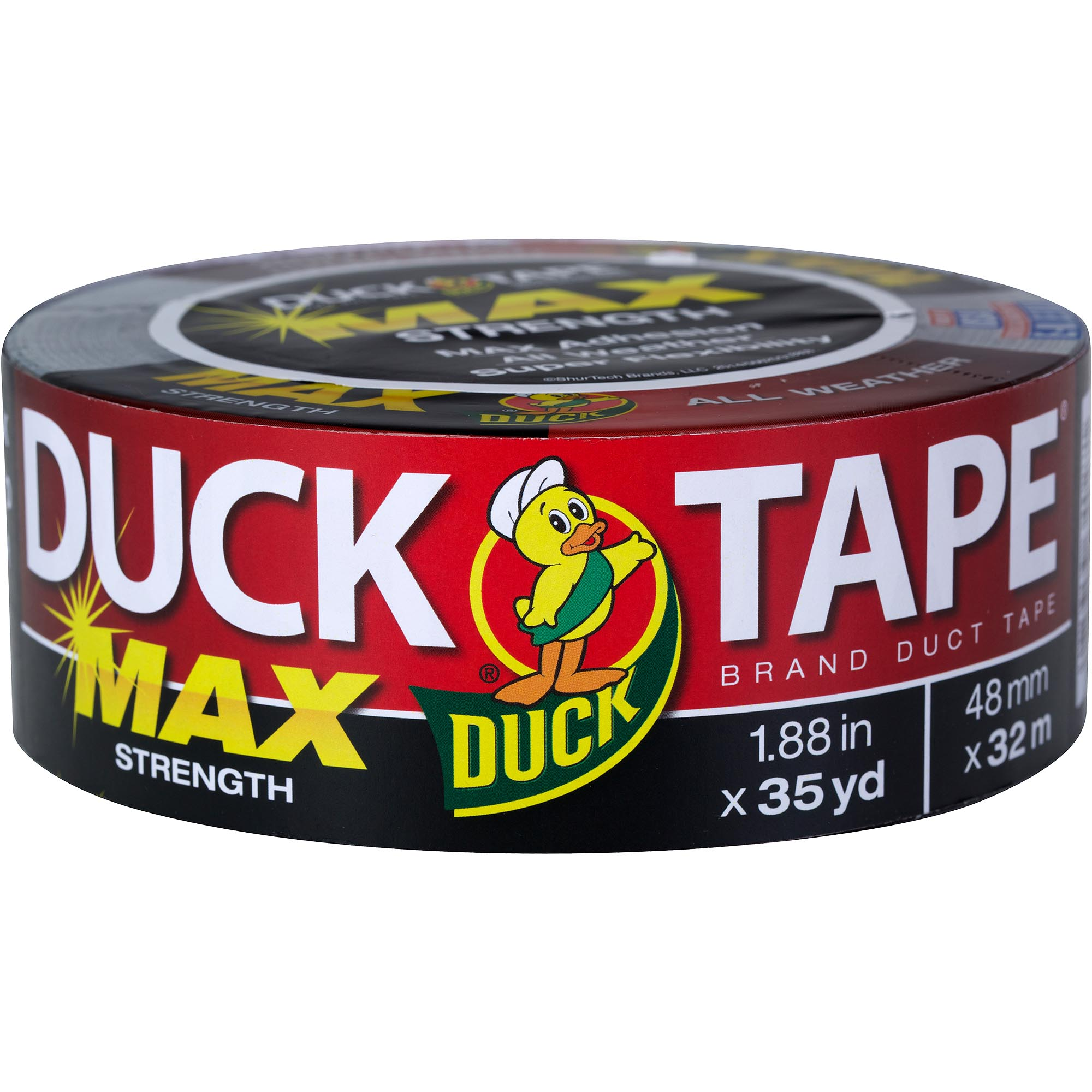 "Duck Brand Duct Tape, Max Strength, 1.88"" x 35 yds, Black"