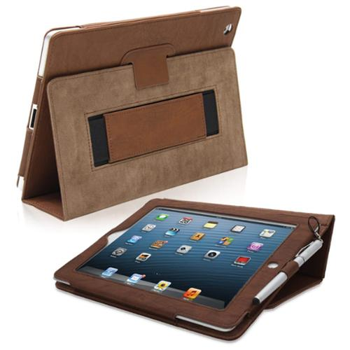 Snugg Distressed Brown Leather iPad 4 Case Cover & Flip Stand