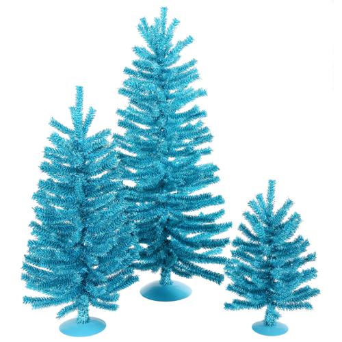 "Set of 3 Sparkling Sky Blue Artificial Christmas Trees 12"", 18"" & 24"" - Unlit"