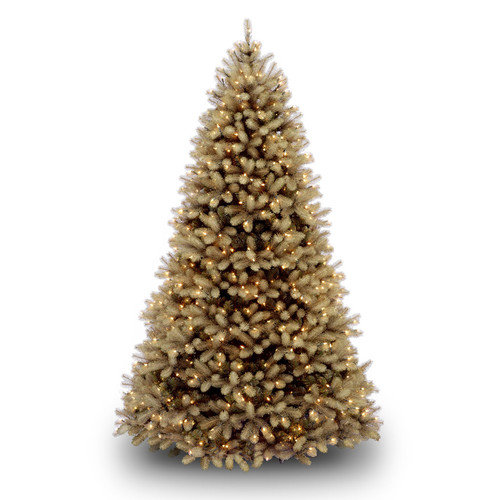 National Tree Co. Douglas Fir Downswept 7.5' Beige Artificial Christmas Tree with Multi-Colored Lights with Stand