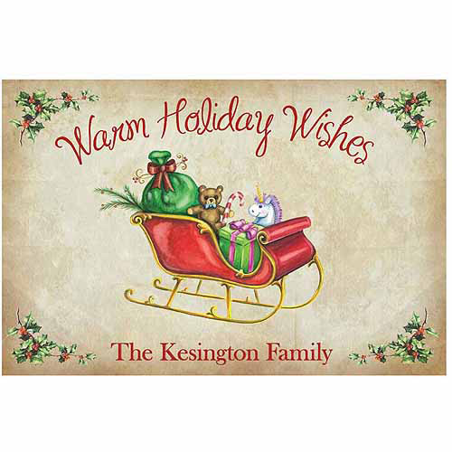 Personalized Warm Holiday Wishes Doormat