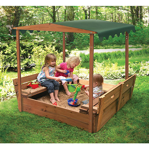 Badger Basket Covered Convertible Cedar Sandbox with Canopy and 2 Bench Seats
