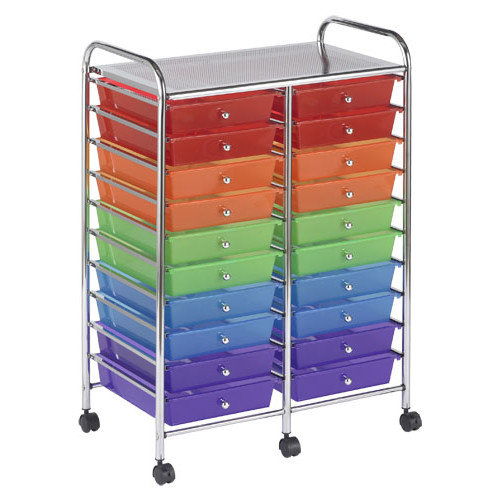 ECR4Kids 20-Drawer Double-Wide Mobile Organizer