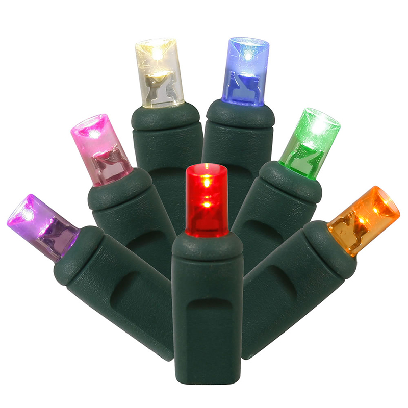 Set of 100 Multi-Color Commercial Grade LED Wide Angle Christmas Lights - Green Wire
