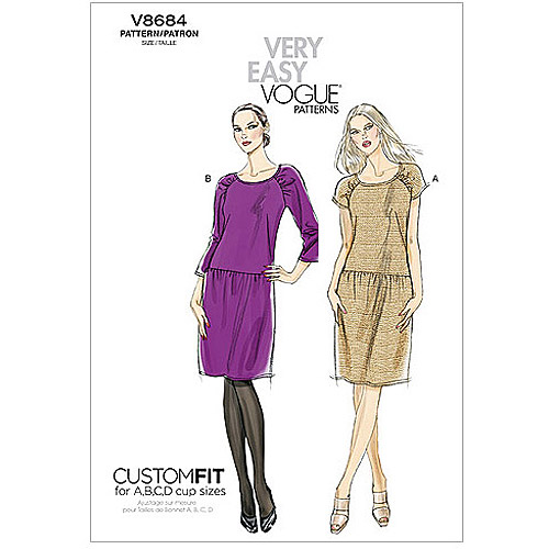 Vogue Pattern Misses' Dress, AA (6, 8, 10, 12)