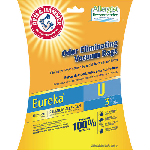 Arm & Hammer Premium Filtration Odor Eliminating Vacuum Bags, Eureka U Premium, 3 Pack