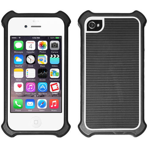 Cellet Case with Bumper for Apple iPhone 4/4s, Black/White
