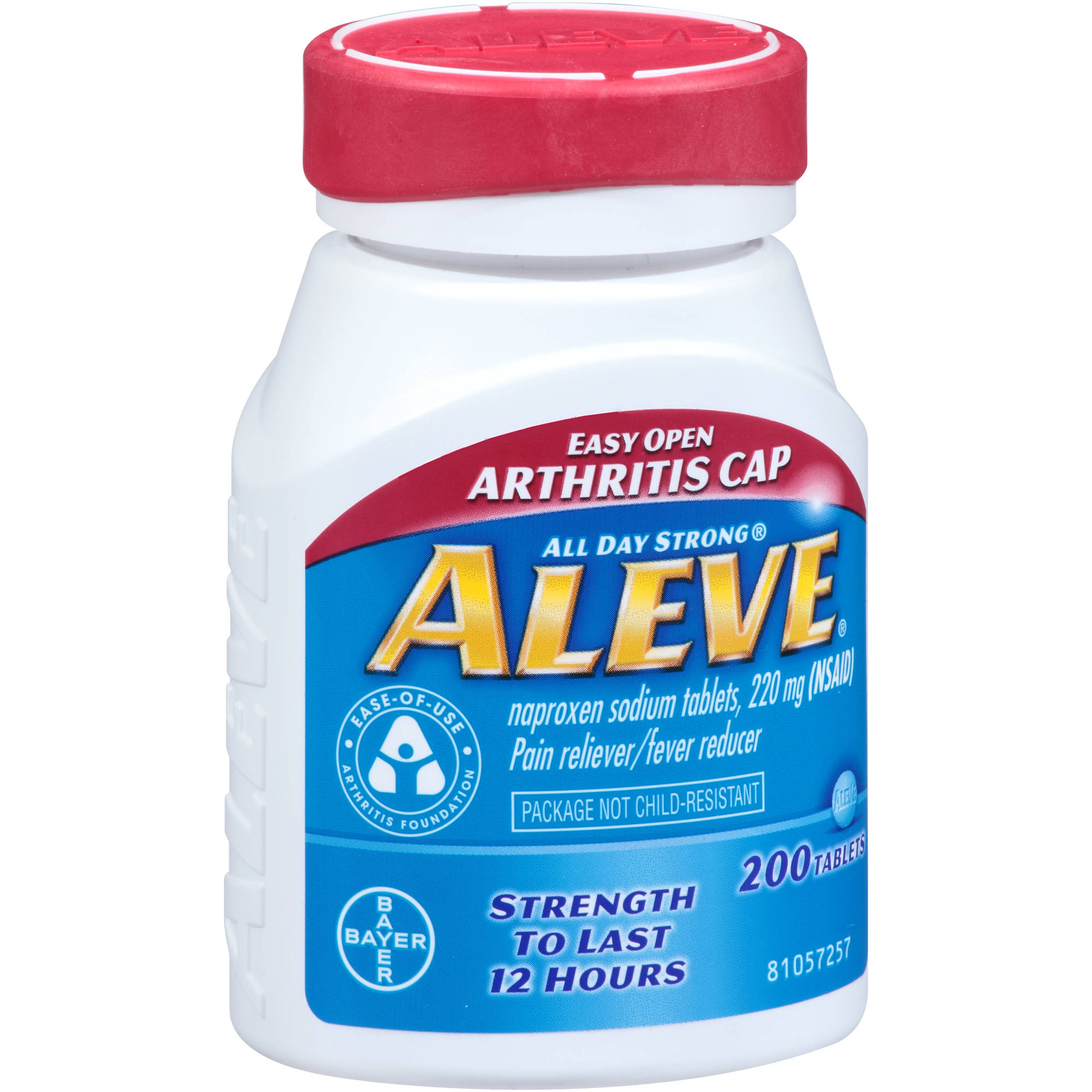 Aleve Pain Reliever/Fever Reducer Naproxen Sodium Tablets, 220mg, 200 count