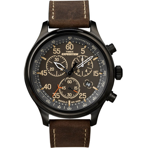 Timex Men's Expedition Field Chronograph Watch, Brown Leather Strap