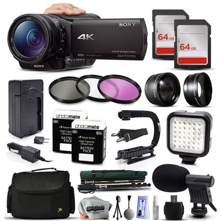 Sony FDR-AX100 4K Ultra HD Handycam Camcorder Video Camera + 128GB Memory + Travel Charger + 3 Filters + 2 Batteries + Opteka X-Grip + LED Light + Microphone + Monopod + Large Case + Dust Cleaning Kit