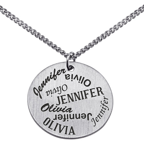 Personalized Sterling Silver Perfect Pair Two Name Pendant, 18""