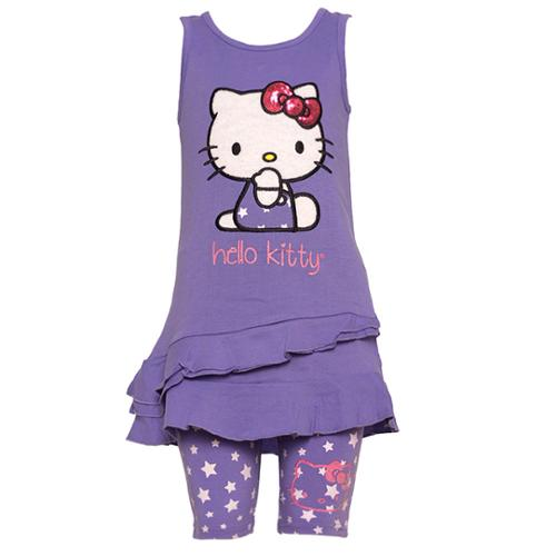 Hello Kitty Little Girls Purple Applique Ruffle Top Short Leggings Outfit 8