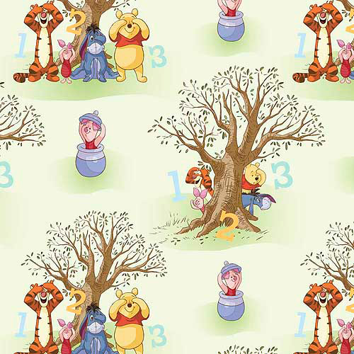 Springs Creative Disney Pooh Nursery Pooh Peekaboo Scenic Fabric by the Yard