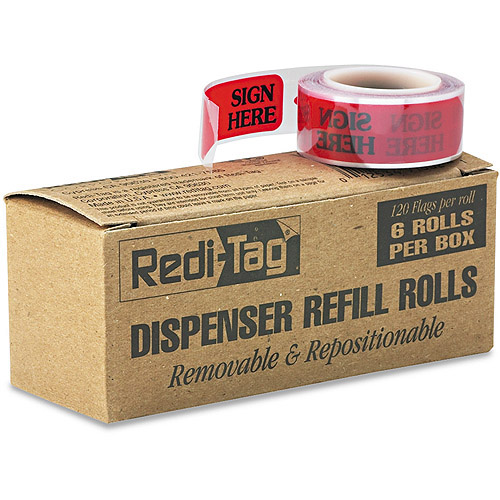"Redi-Tag Message Arrow Flag Refills, ""Sign Here"", Red, 6 Rolls of 120 Flags"