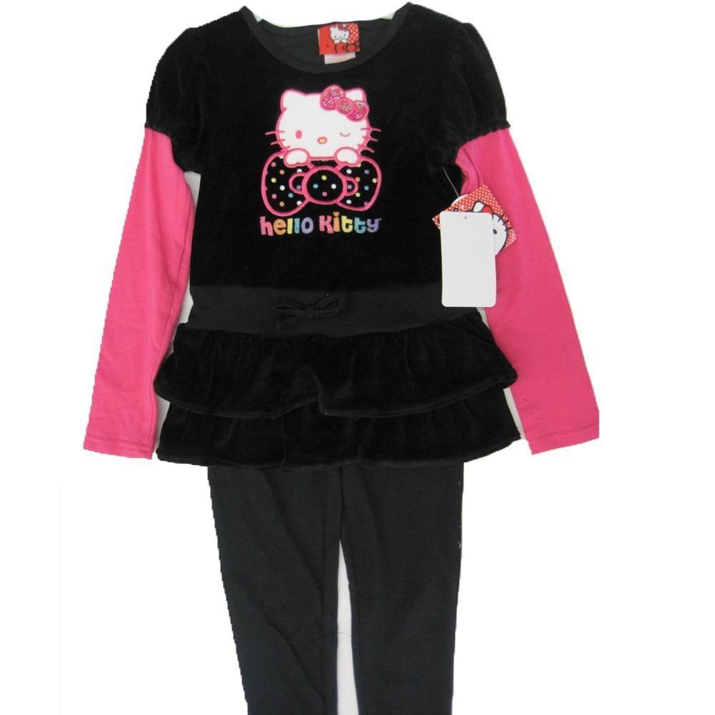 Hello Kitty Little Girls Black Fuchsia Stud Layered 2 Pc Leggings Set 4-6X