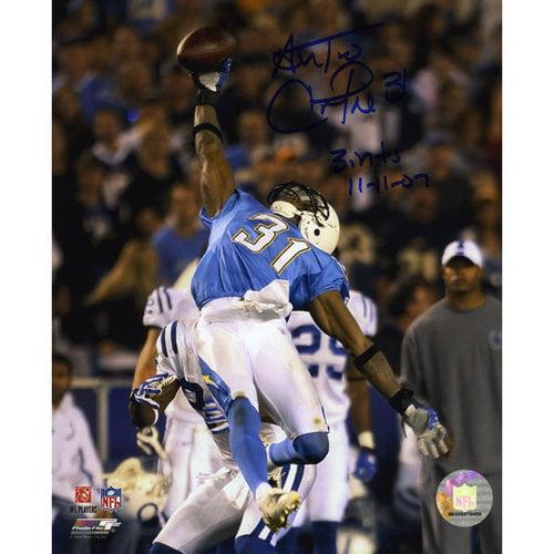 "NFL - Antonio Cromartie San Diego Chargers Autographed 8x10 Photograph with ""3 INT 11-11-07"" Inscription"