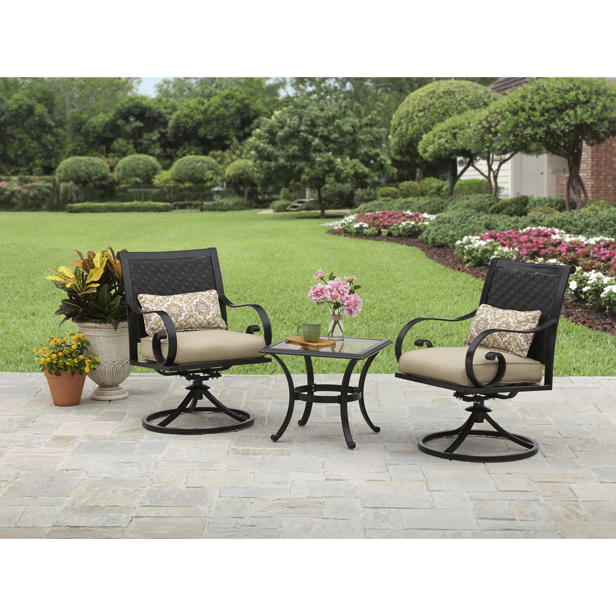 Better Homes and Gardens Englewood Heights II Aluminum 3-Piece Outdoor Bistro Set, Seats 2