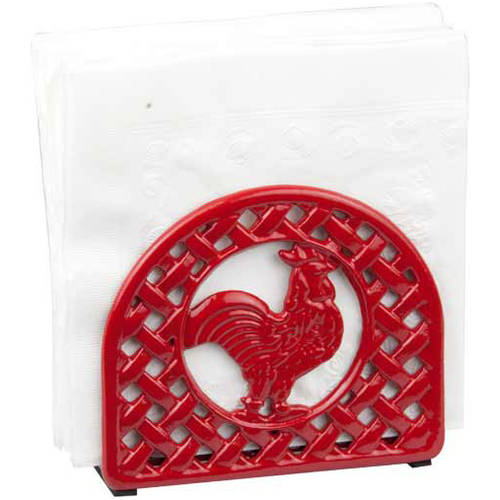 Home Basics Napkin Holder, Cast Iron, Red Rooster