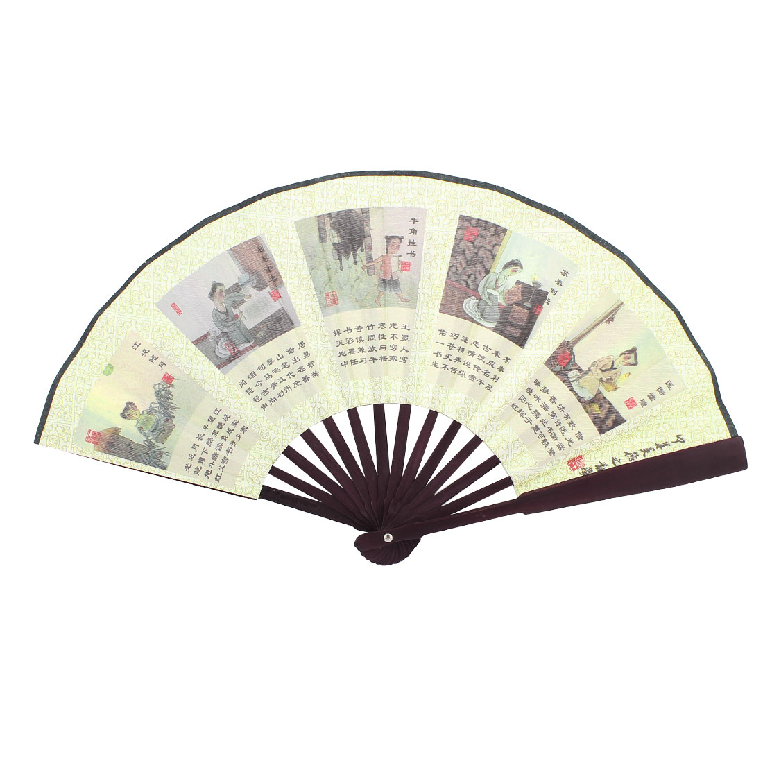 Summer Beige Fabric Bamboo Study Stories Print Portable Foldable Pocket Hand Fan