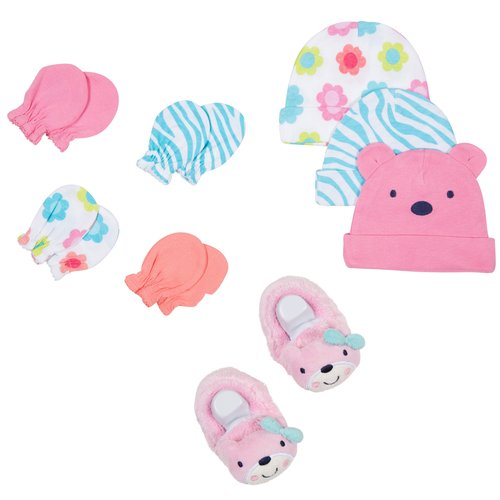 Gerber Newborn Baby Girl Cap, Mitten and Booties Accessory Set, 8-Piece