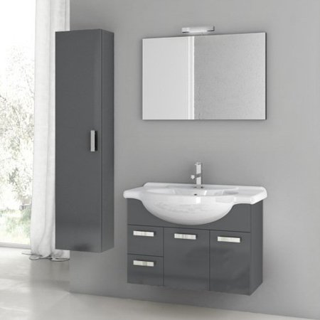 ACF by Nameeks ACF PH05-GA Phinex 32-in. Single Bathroom Vanity Set - Glossy Anthracite