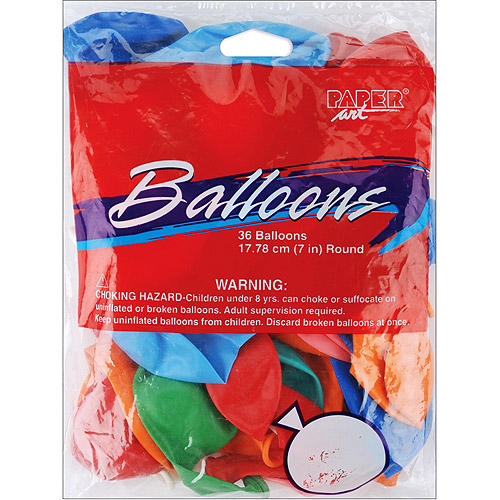 "Balloons Round 7"" 36/Pkg-Assorted Colors"