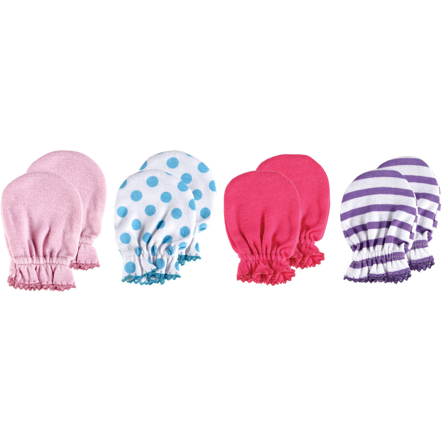 Luvable Friends Newborn Baby Girls Scratch Mitten 4-Pack, 0-6 months