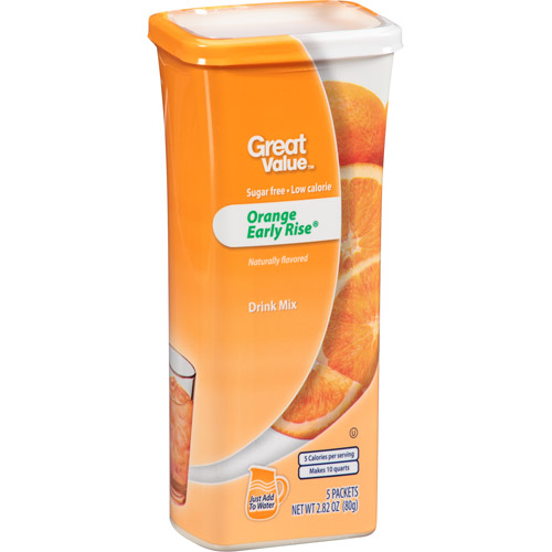 Great Value Orange Early Rise Drink Mix, 5 count