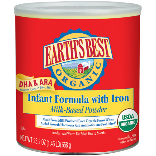 Earth's Best Organic Canned Powder Formula with Iron, 23.2 oz (Pack of 4)