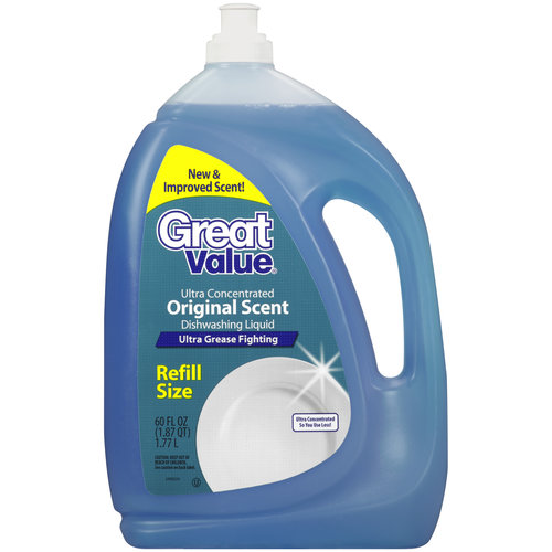 Great Value Original Scent Refill Size Dishwashing Liquid, 60 oz