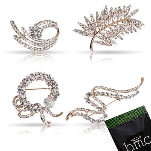 BMC Womens 4pc Clear Rhinestone Leaf Wreath Floral Gold Fashion Brooch Pins